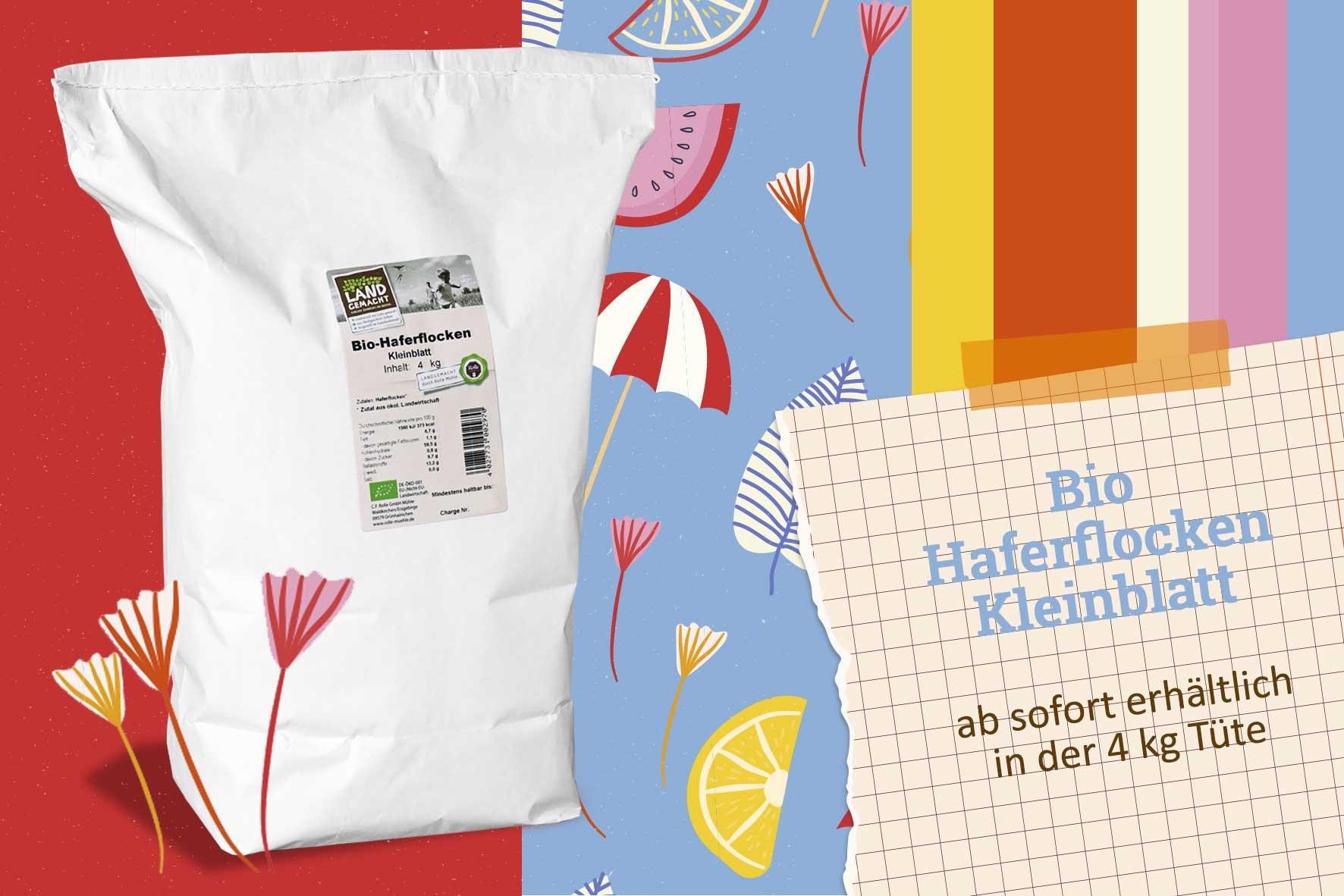 Bio Haferflocken Kleinblatt 4 kg Rolle Mühle
